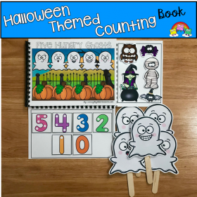 """Five Hungry Ghosts"" A Halloween Counting Adapted Book"