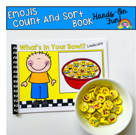 Emojis Mini-Erasers Count And Sort Activity Book