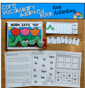 """Worm Says Hi"" Core Vocabulary Adapted Book And Activities"