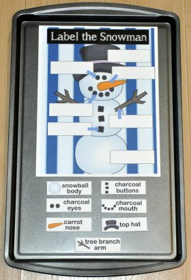 Label the Snowman Cookie Sheet Activity