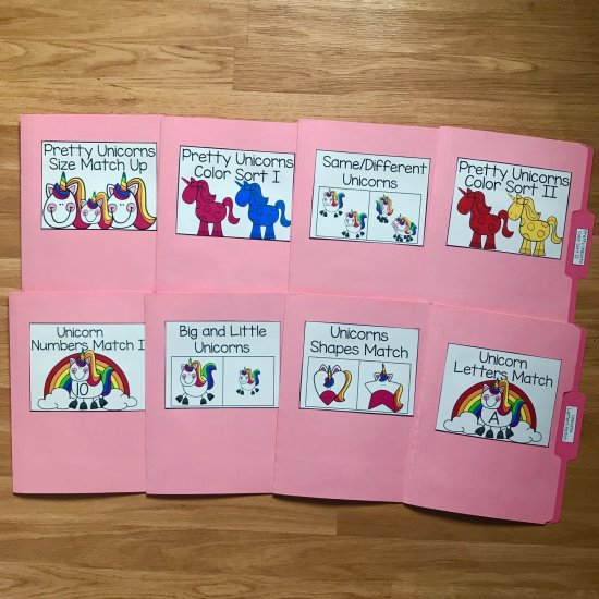 Unicorn Themed File Folder Games