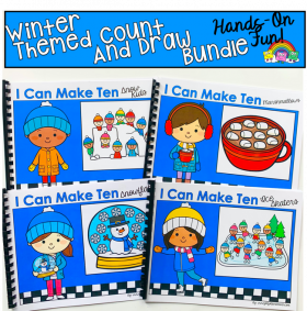 """I Can Make Ten"" Winter Themed Count And Draw Books Bundle"