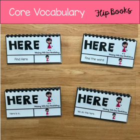 "Core Vocabulary Flip Books: ""Working With The Word Here"""