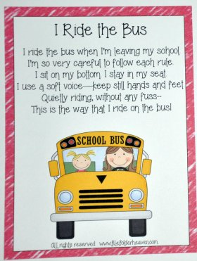 I Ride On The Bus Classroom Poster