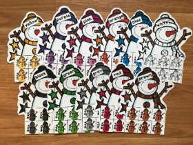 Snowmen Themed Color Sorting Mats