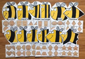 Bees Shapes Sorting Activities