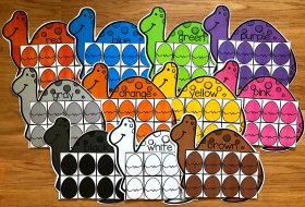Dinosaur Color Sorting Mats