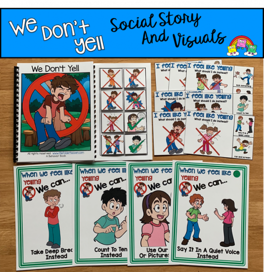 """We Don\'t Yell\"" Social Story Unit"