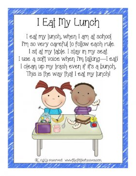 I Eat My Lunch Classroom Poster