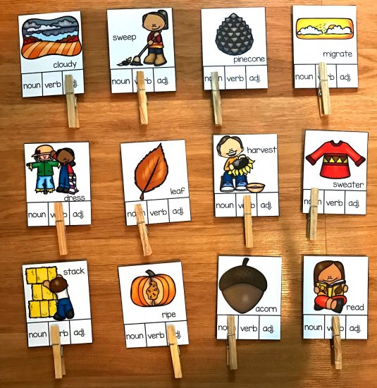 Fall Parts of Speech Task Cards