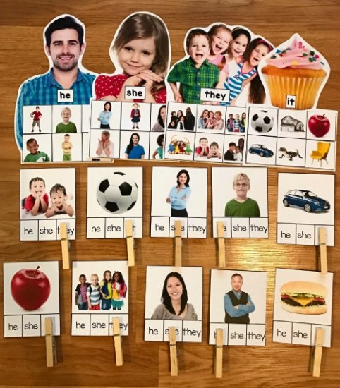 Pronouns Sorting Mats (w/Real Photos)