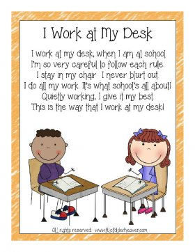 I Work At My Desk Classroom Poster