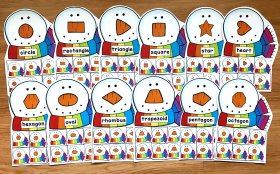 Snowman Nose Shapes Sorting Mats