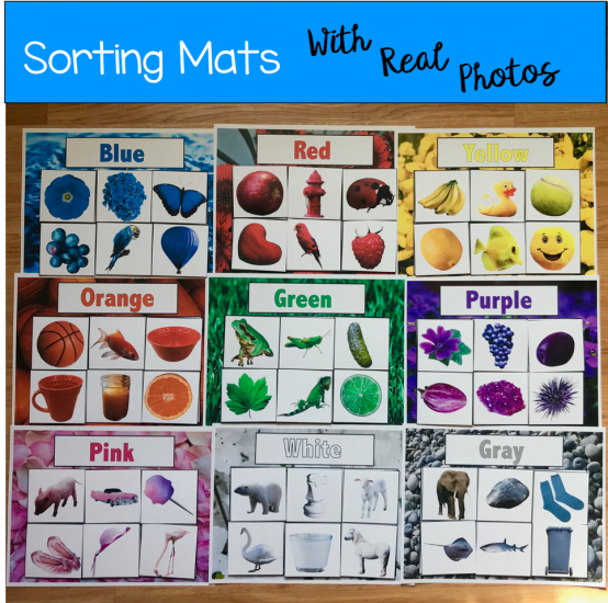 Color Sorting Mats (w/Real Photos)