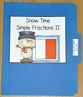 Snow Time Simple Fractions II File Folder Game
