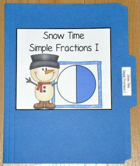 Snow Time Simple Fractions I File Folder Game