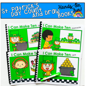 """I Can Make Ten"" St. Patrick's Day Count And Draw Books Bundle"