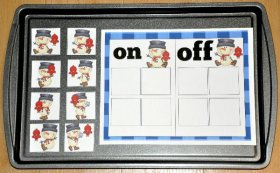On and Off the Snowman Sort Cookie Sheet Activity