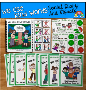 """We Use Kind Words"" Social Story Unit"