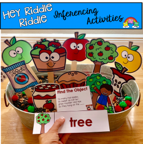 """Hey Riddle Riddle"" Apple Themed Sensory Bin Riddles"