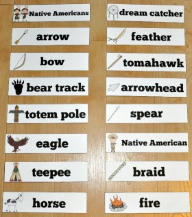 Native American Themed Visual Word Wall Words