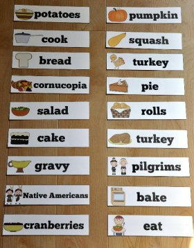 Thanksgiving Themed Visual Word Wall Words
