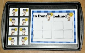 In Front or Behind the Snowman Cookie Sheet Activity