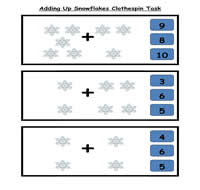 Adding Up Snowflakes Clothespin Task