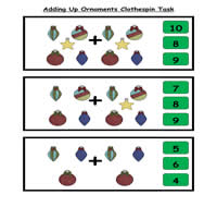 Adding Up Ornaments Clothespin Task