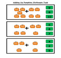 Adding Up Pumpkins Clothespin Task