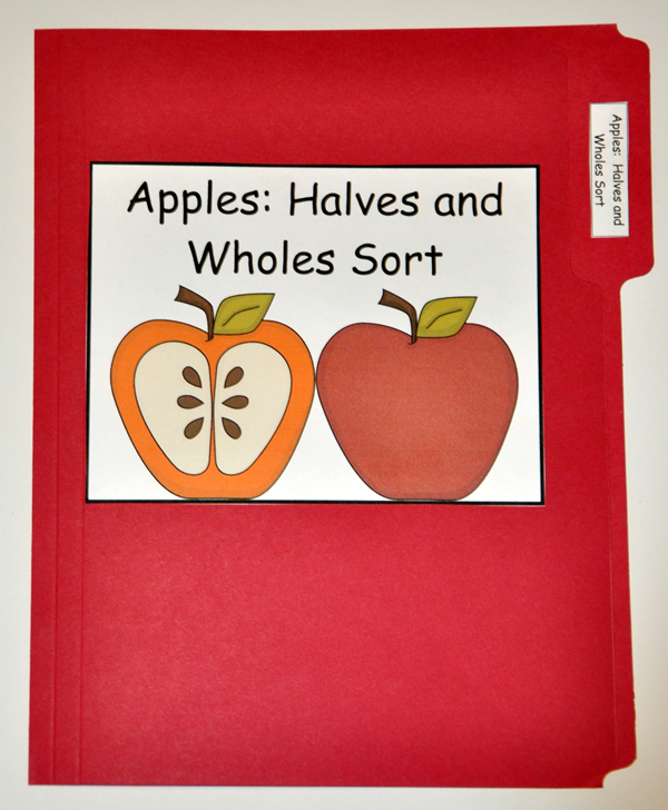 Apples Halves and Wholes Sort File Folder Game
