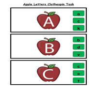 Apple Letters Clothespin Task