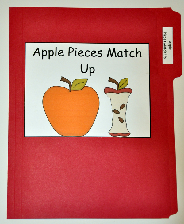 Apple Pieces Match Up File Folder Game