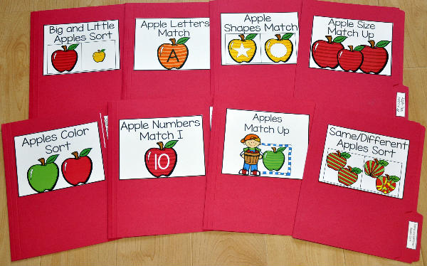 Apple Themed Matching and Sorting File Folder Games