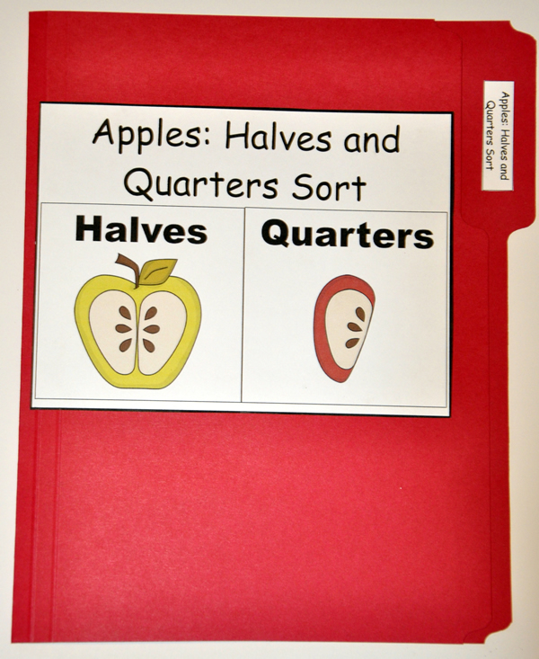 Apples: Halves and Quarters Sort File Folder Game