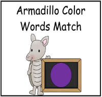 Armadillo Color Words Match File Folder Game