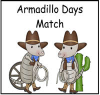 Armadillo Days Match File Folder Game