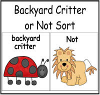 Backyard Critter or Not Sort File Folder Game