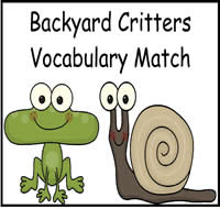 Backyard Critters Vocabulary Match File Folder Game