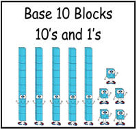 Base Ten Blocks: How Many 10's and 1's File Folder Game