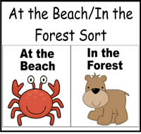 At the Beach/In the Forest Sort File Folder Game