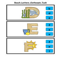 Beachy Letter Match Clothespin Task