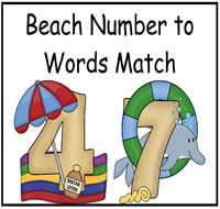 Beach Number to Words Match File Folder Game