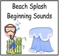 Beach Splash Beginning Sounds File Folder Game
