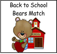 Back to School Bears Match File Folder Game