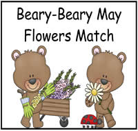 Beary-Beary May Flowers Match File Folder Game