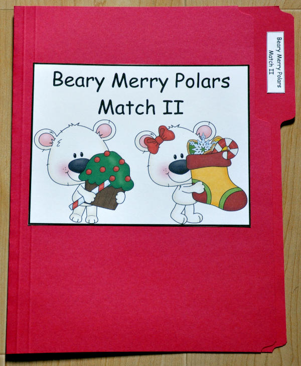 Beary Merry Polar Bears Match II File Folder Game