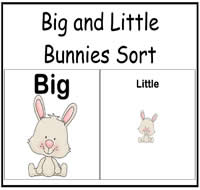 Big and Little Bunnies Sort File Folder Game