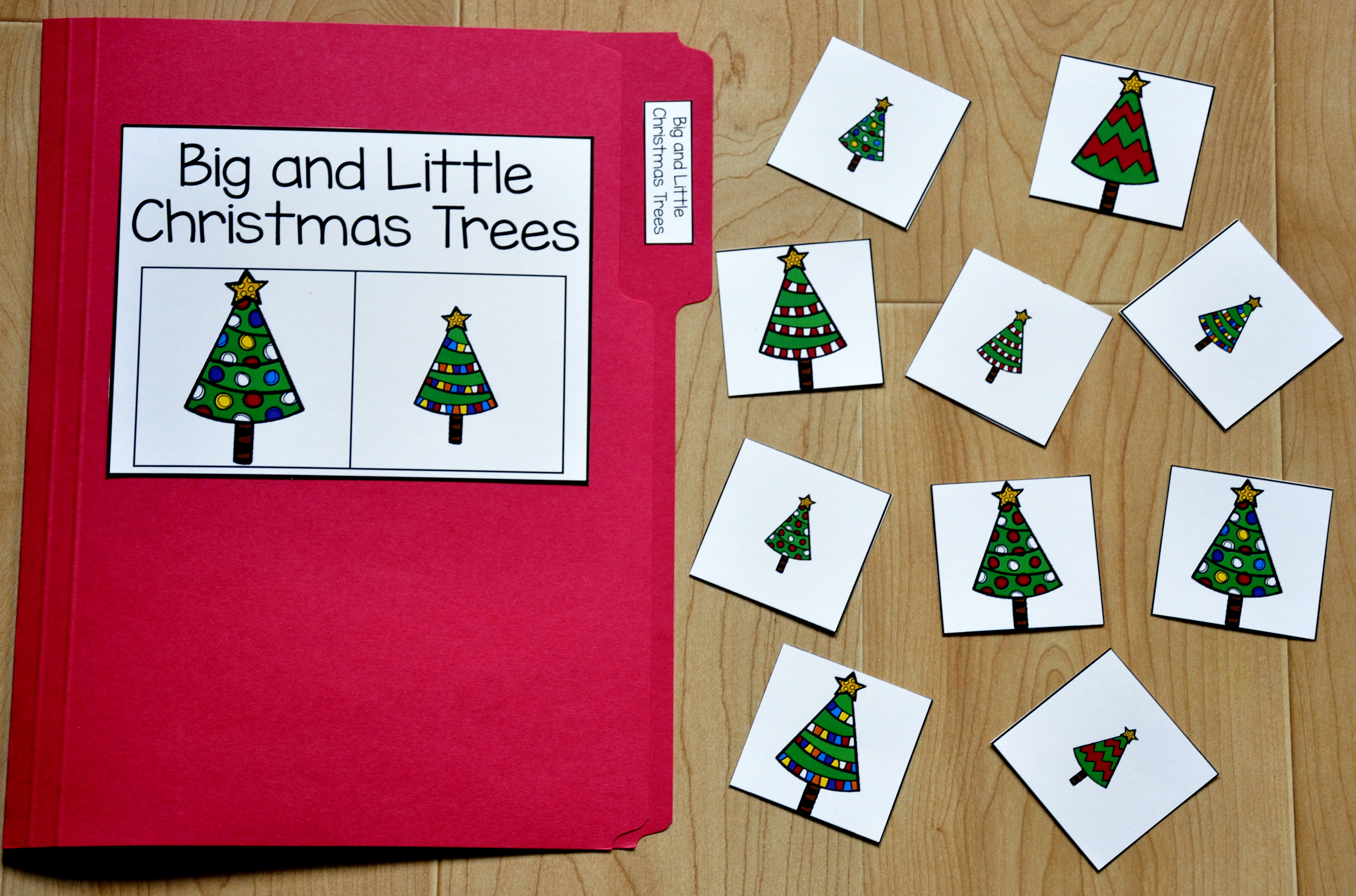 Big and Little Christmas Trees Sort File Folder Game