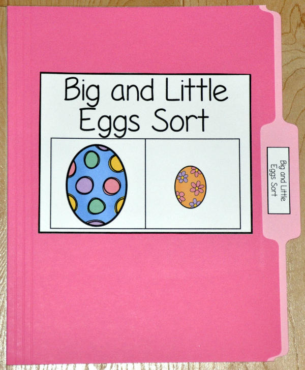 Big and Little Eggs Sort File Folder Game
